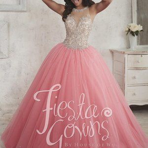 Quinceanera Pink & Crinoline Ball Gown House of WU